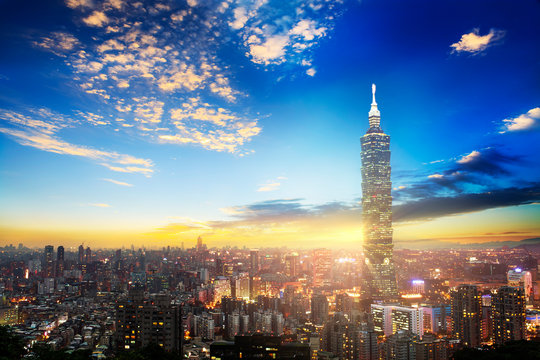 The scene of Taipei 101 building and Taipei city Taiwan on December 14 2017. The photo has been taken from the top of Elephant Mountain, Taipei