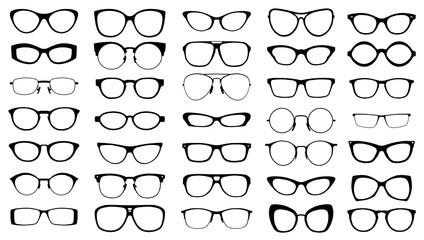 set of black vector glasses on white background Fototapete