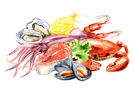 Seafood composition, Watercolor hand drawn illustration isolated on white background