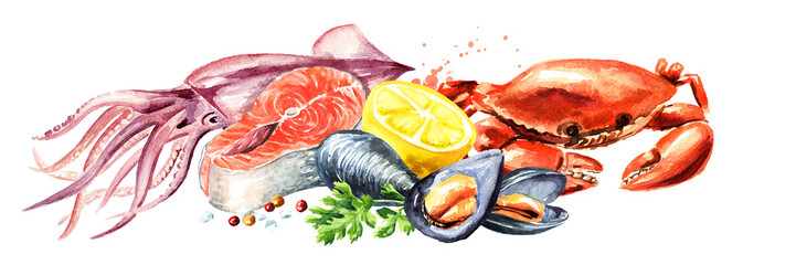 Seafood horizontal composition, Watercolor hand drawn illustration isolated on white background