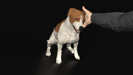 Strong bound of care between dog and owner petting 3d illustration