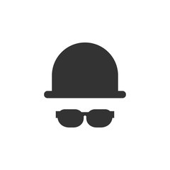 Hat and glasses icon graphic design template vector