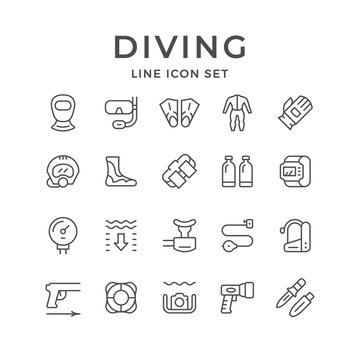 Set line icons of diving