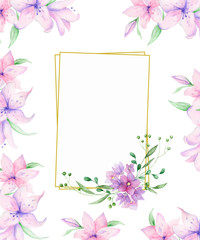 Vertical Floral frame with pink roses and decorative leaves. Watercolor Invitation design. Background to save the date. Greeting card with pink flowers. Gold polygonal frame