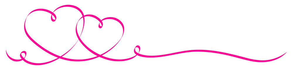 2 Connected Pink Calligraphy Hearts Ribbon Banner