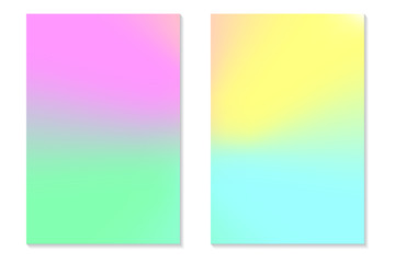 Gradient Hologram Backgrounds. Set of colorful holographic posters in retro style. Vibrant neon pastel texture. Vector gradient template for flyer, banner, mobile screen.