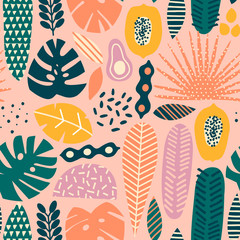 Hawaiian contemporary floral tropical seamless pattern in vector