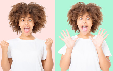 Happy collage of young dark skin woman isolated on colorful background in tshirt clothes. Copy space. Mock up. White template blank summer t shirt. Curly hair girl