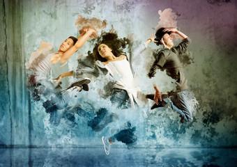 Beautiful young trio in dance studio Wall mural