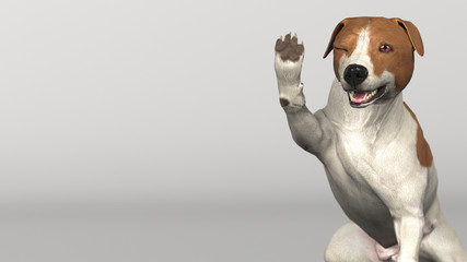 Cute little jack russel puppy waving hand saying hello 3d illustration