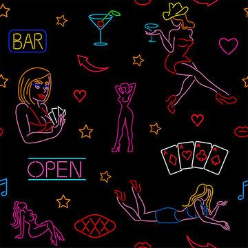 Seamless pattern with neon art, casino, strip club, night club, bar
