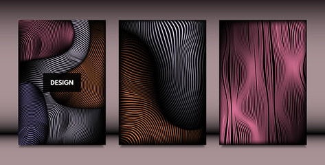 Abstract Wavy Shapes with 3d Effect. Cover Design Templates Set with Vibrant Gradient and Wavy Stripes in Minimal Style. Vector Abstraction with Distorted Lines. Wavy Shapes for Cover, Brochure, Book