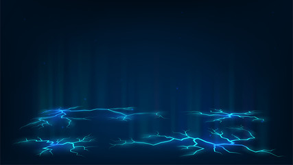 Dark background with blue cracks in the ground, electricity, power