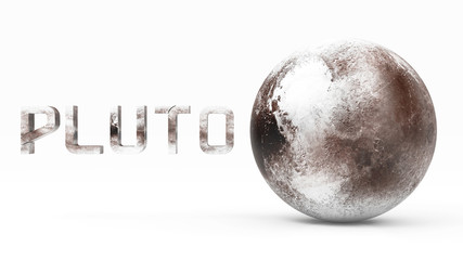 3D Planet of the Pluto Solar System in White Background