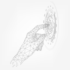Wireframe human hand touch circle on screen, technology, index finger, triangular palm