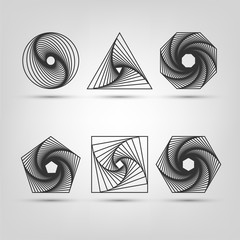 Shapes with a spiral, logo on a black background