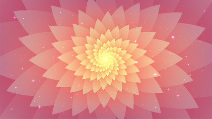 Pink abstract background, psychedelic spiral fractal, starry sky, flower.