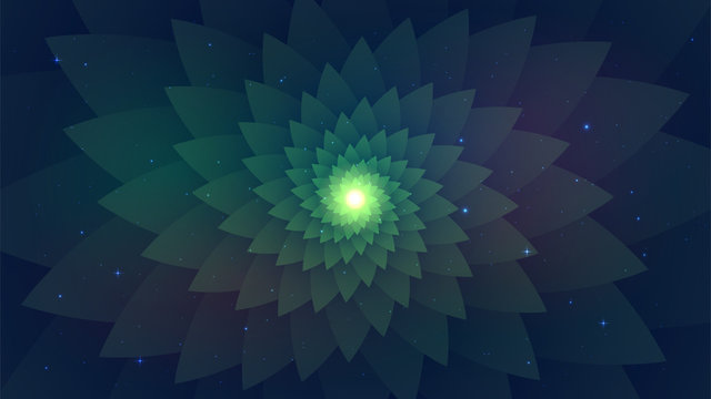 Dark green abstract background, psychedelic spiral fractal, starry sky, flower.