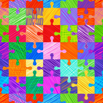 Seamless colorful pattern with puzzles, jigsaw, children's pattern, sketch style