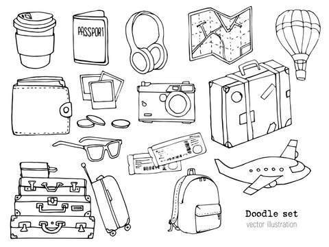 Set of hand drawn travel doodle. Vector illustration. Vacation or Time to Travel concept. Tourism and trip sketch with cartoon elements. Map, suitcase, airplane, camera, passport, tickets, smartphone