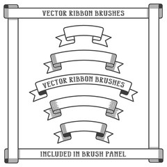 Vintage heraldic ribbon vector brushes. Included in brushes panel.