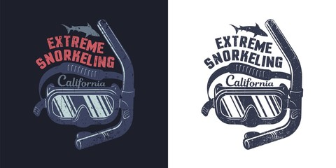 Snorkel mask - retro logo with grunge worn texture on a separate layer. Diving emblem.