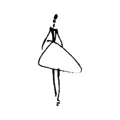Fashion model hand drawn sketch, stylized ink silhouette