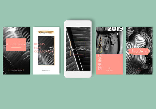 10 Social Media Story Templates with Coral and Gold Accents