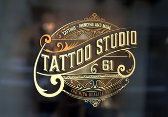 Vintage-Style Tattoo Studio Logo Layout