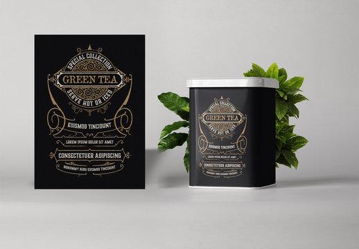 Vintage-Style Tea Logo Layout