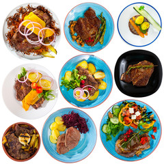 Collection of dishes of veal on white background