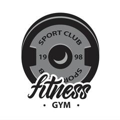 Logo or emblem with dumbbell disk. Fitness lettering. Vector illustration design.Vector illustration design.