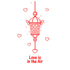 Valentine's Day love card template. Ramadan lantern. Chinese festival. Isolated flat vector illustration eps10.
