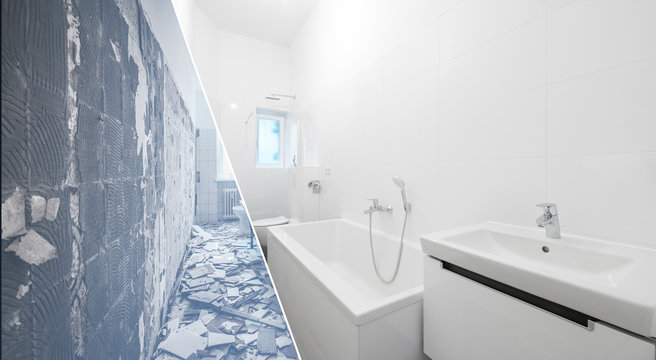 bathroom renovation - old and new bathroom  -