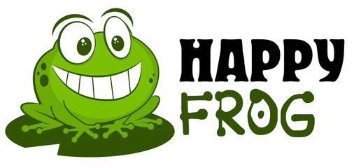 Frog logo mascot vector illustration. Cute funny cartoon hand drawn toad smiling isolated on white background and sitting on leaf. For children goods store logo insignia, kid clothes, prints, zoo.