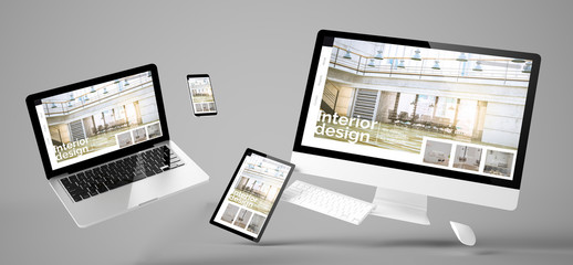 Wall Mural - flying devices interior design responsive website