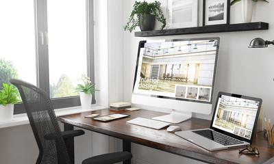 black and white responsive devices mockup responsive website interior design