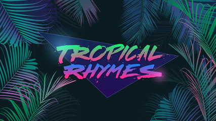 tropical night neon background template