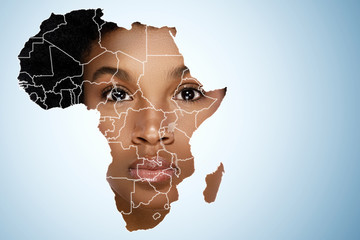 Face of African woman inside the map of Africa