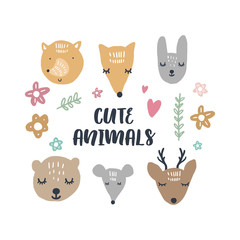 Vector illustrations of cute animals, woodland nursery collection