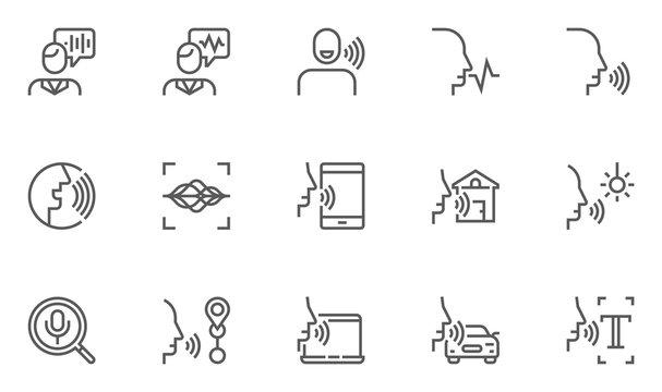 Voice Command Control, Voice Recognition Vector Line Icons Set. Voice Text Input, Voice Search, Voice Control Of Smart Home. Editable Stroke. 48x48 Pixel Perfect.