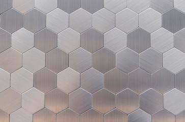 Fototapeta Metal mosaic tiles in a modern interior. obraz