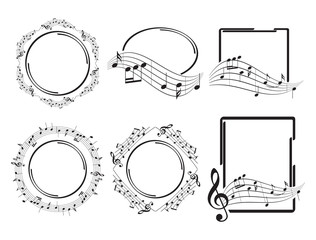 oval round and rectangular music frames - beautiful vector set