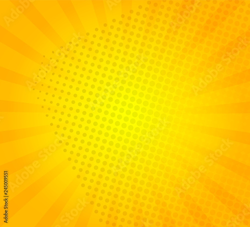 b4cd2aadae739 Sunburst on yellow background with dots. Template for your design, concept  of hot summer. Radial sun rays.Vector illustration.