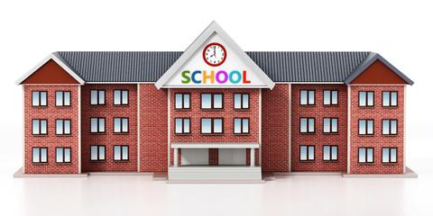 Generic, basic design school building. 3D illustration