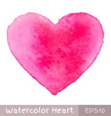 Pink Purple Watercolor Heart. Vector illustration.