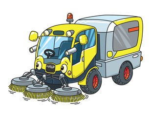 Funny small sweeper municipal car with eyes
