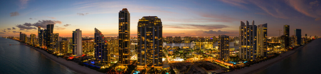 Twilight aeril panorama highrise beachfront buildings South Florida USA