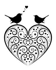 heart and love birds