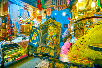 The old mirror with colorful frame, Isfahan, Iran